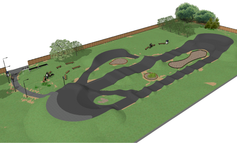 pump track 3D Drawing tarmac